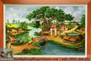 tranh làng quê cây đa giếng nước sân đình