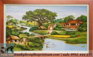 tranh làng quê treo tường phòng khách