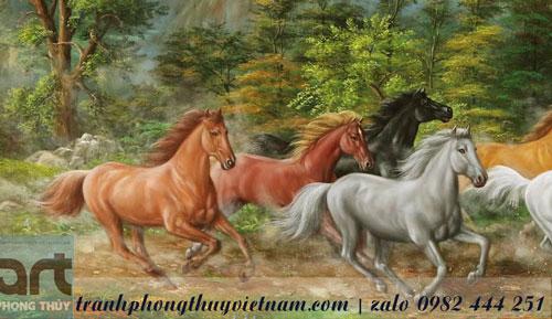 tranh ngựa bát mã màu sơn dầu đẹp nhất