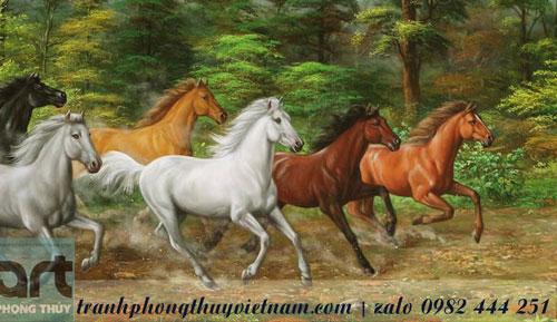tranh ngựa vẽ bằng màu sơn dầu