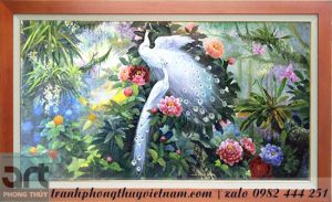 tranh phong thủy đôi chim công màu trắng