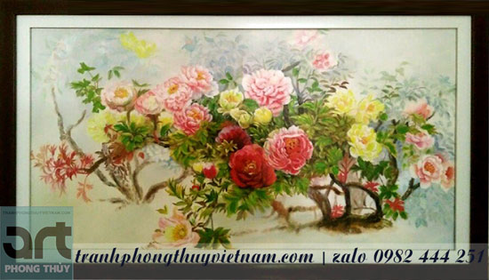 tranh phong thủy hoa mẫu đơn treo tường đẹp