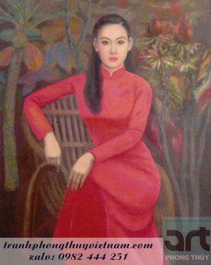 tranh sơn dầu thiếu nữ áo dài truyền thống