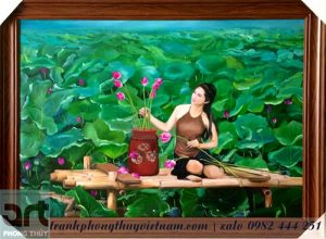 tranh sơn dầu thiếu nữ bên đầm sen
