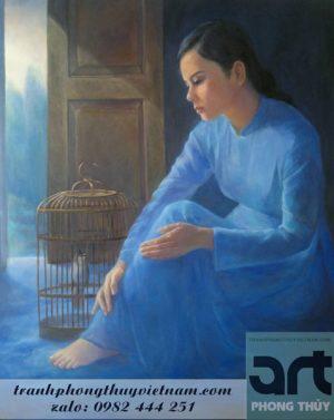 tranh sơn dầu thiếu nữ bên lồng chim