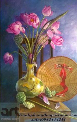 tranh sơn dầu tĩnh vật hoa sen
