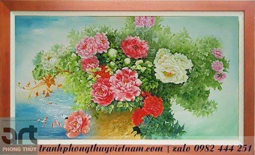 tranh sơn dầu vẽ hoa mẫu đơn treo tường đẹp