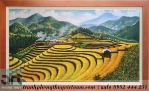 tranh sơn dầu vẽ phong cảnh ruộng bậc thang