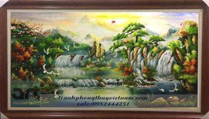 tranh sơn thủy thác nước chim hạc cây tùng