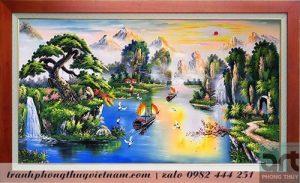 tranh sơn thủy thuận buồm