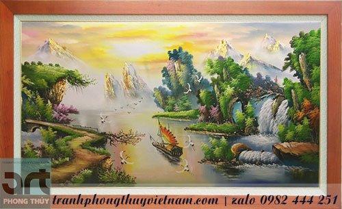 tranh sơn thủy vẽ thuyền buồm