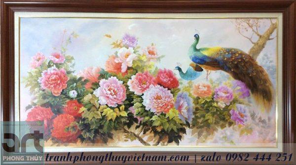 tranh treo tường chim công và hoa mẫu đơn