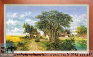 tranh làng quê cây đa cổng làng sân đình