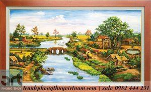 tranh làng quê dòng sông quê hương
