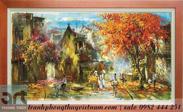 tranh phố cổ hà nội trang trí nội ngoại thất