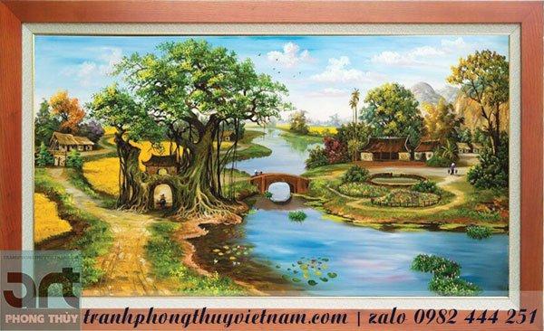 tranh vẽ làng quê đẹp