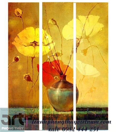 bộ tranh ghép trang trí bình hoa