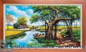 tranh đồng quê vẽ cây đa đầu làng