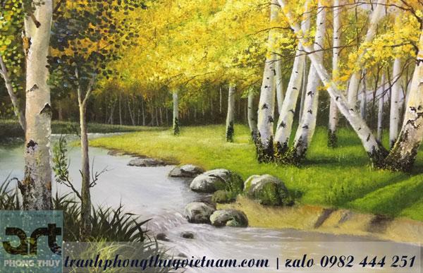 tranh phong cảnh rừng cây dòng suối tranh treo tường