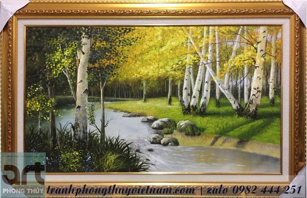tranh phong cảnh rừng cây dòng suối