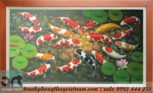 tranh sơn dầu vẽ cá chép hoa sen
