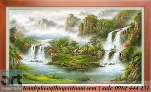 tranh sơn thủy thác nước tài lộc