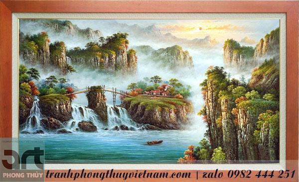 tranh sơn thủy treo tường trang trí phòng khách