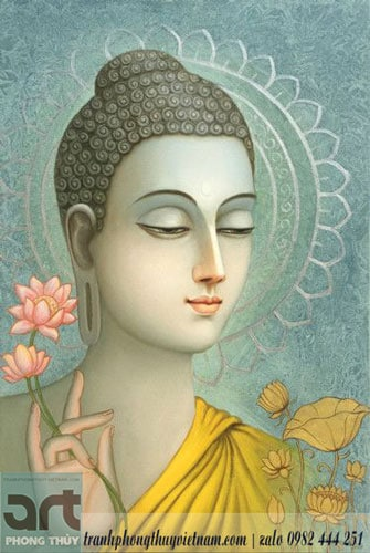 tranh trang trí vẽ phật và hoa sen