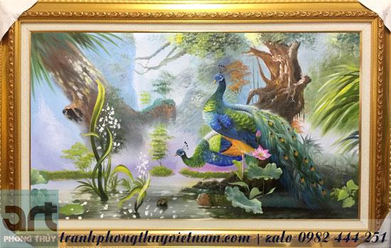 tranh treo tường vẽ cặp đôi chim công