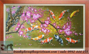tranh vẽ cành đào và chín chú cá chép