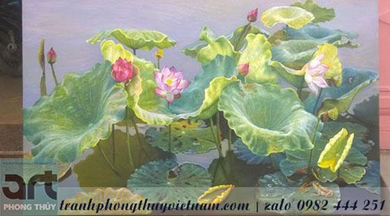 bức tranh sơn dầu vẽ đầm hoa sen tuyệt đẹp