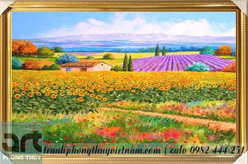 tranh phong cảnh cánh đồng hoa hướng dương tuyệt đẹp