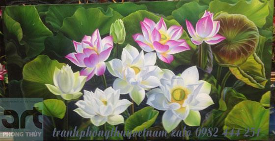 tranh phong cảnh đầm hoa sen thơm ngát
