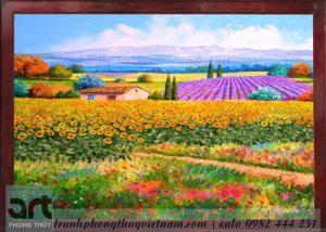 tranh sơn dầu cánh đồng hoa hướng dương