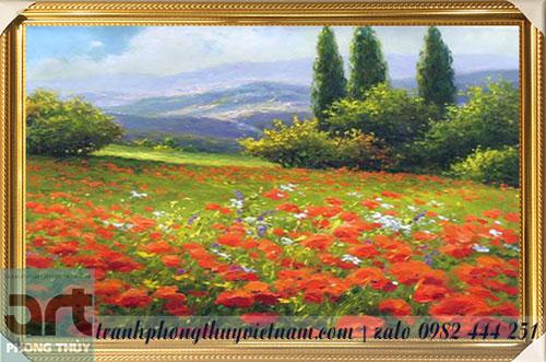 tranh sơn dầu cánh đồng hoa poppy