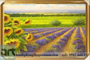 tranh sơn dầu phong cảnh vẽ cánh đồng hoa
