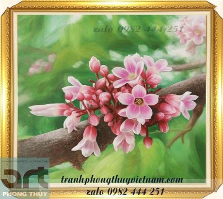 tranh sơn dầu vẽ chùm hoa khế