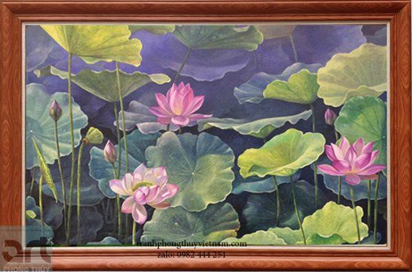 tranh sơn dầu vẽ đầm hoa sen