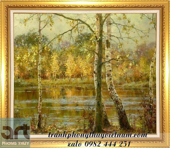 tranh sơn dầu phong cảnh vẽ rừng cây bạch dương