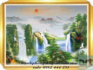 tranh sơn thủy phong cảnh thác nước núi non