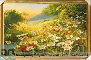 tranh vẽ cánh đồng hoa