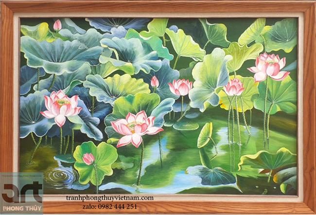 tranh vẽ phong cảnh đầm hoa sen đẹp nhất