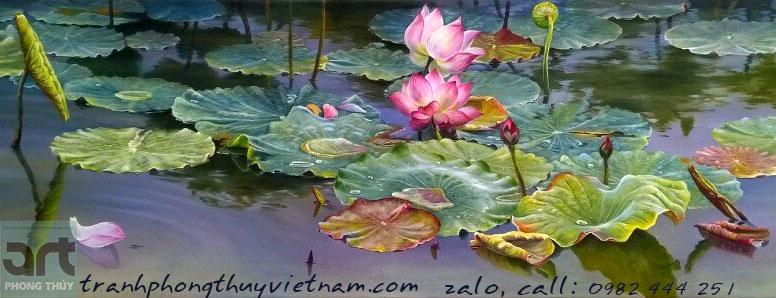 mẫu tranh sơn dầu vẽ đầm hoa sen đẹp nhất