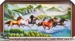 tranh bát mã vẽ tám chú ngựa chạy trên mặt nước