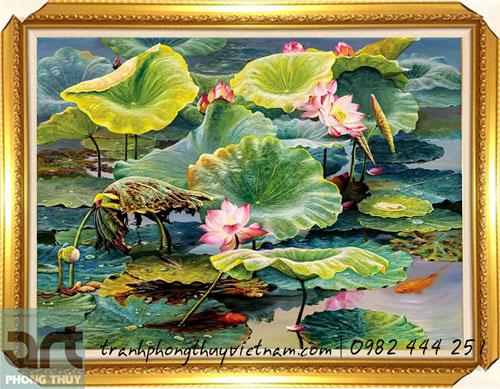 tranh đầm sen màu sơn dầu