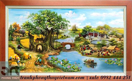 tranh đồng quê phong cảnh làng quê thanh bình