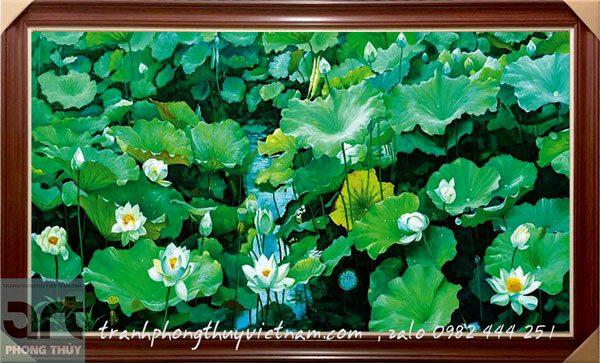 tranh phong cảnh đầm hoa sen trắng