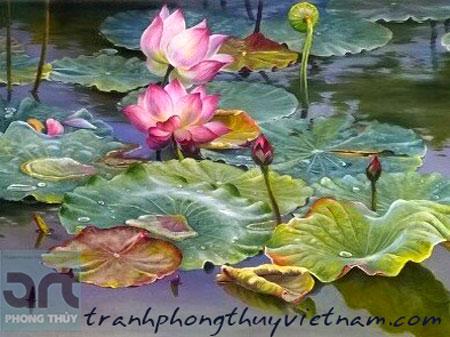 tranh sơn dầu đầm hoa sen đẹp nhất