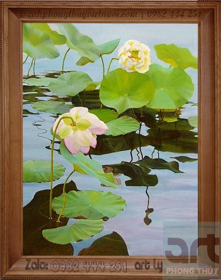 tranh sơn dầu hoa sen đẹp tại hà đông hà nội