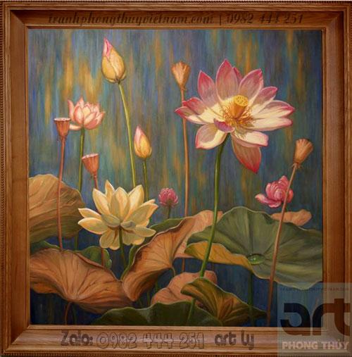 tranh sơn dầu hoa sen khung gỗ sang trọng